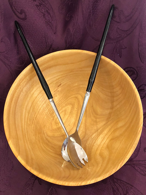 Ash Wooden Salad Bowl.with Utensils
