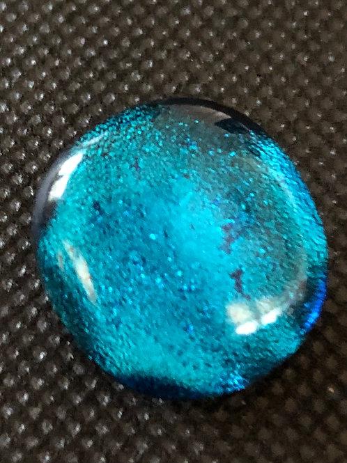 Medium Blue Round Glass Snap Bead