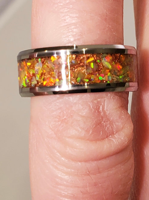 Green Orange Opal Ring