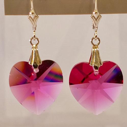 Swarovski Bordeaux Heart Earrings