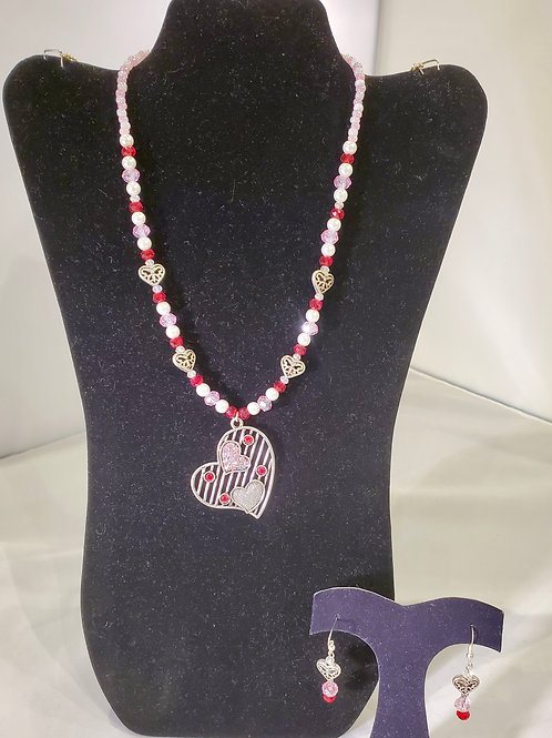 Pink Valentine Necklace and Earrings