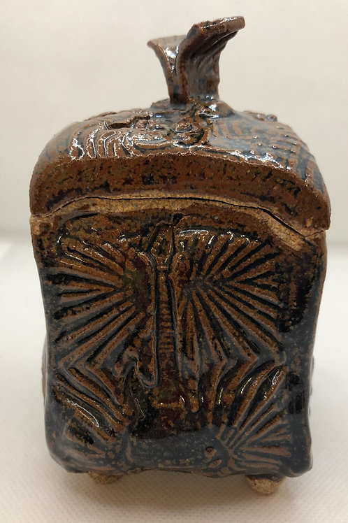 Brown Lidded Box with Guitar Imprint