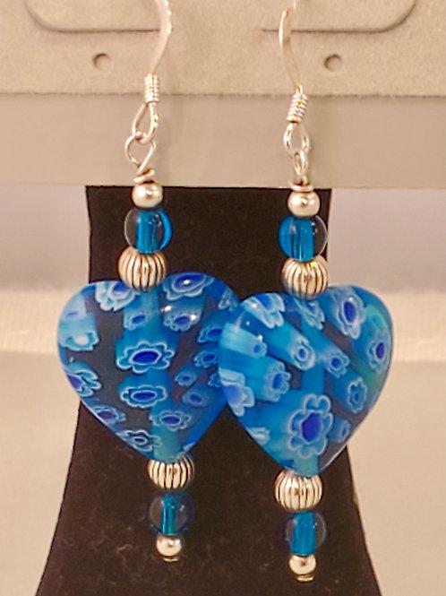 Blue Millifiore Heart Earrings