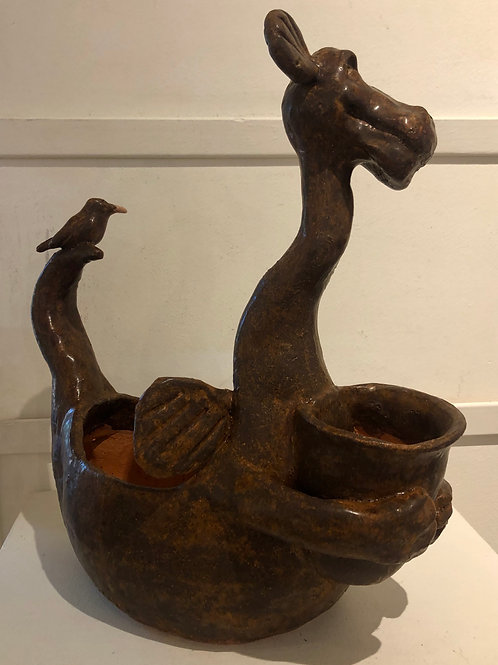 Brown Dragon Pot