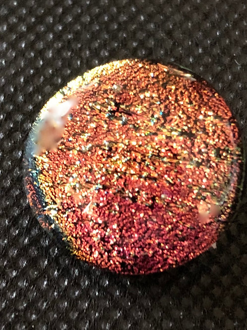 Gold/Pink Round Glass Snap Bead