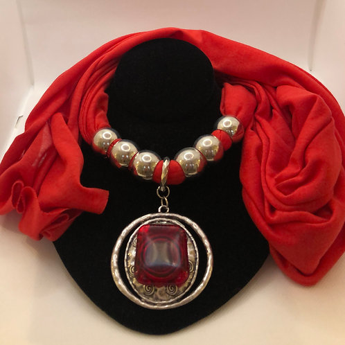 Scarf with Scarf Ring Pendant