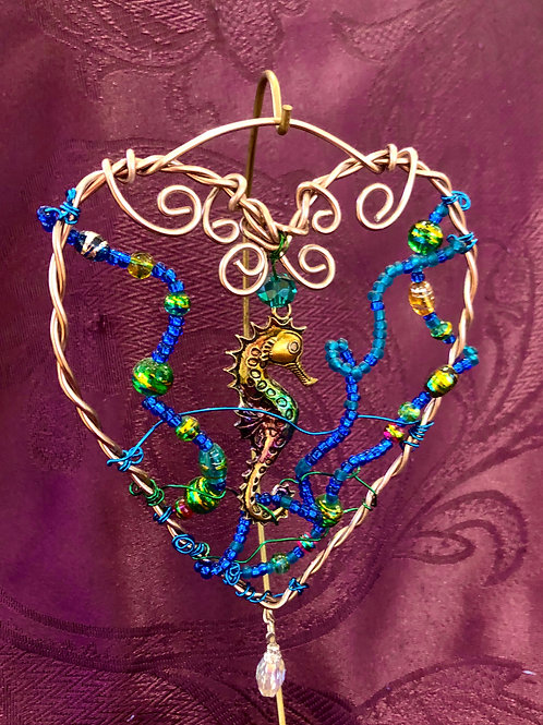 Seahorse on Heart - Beads and Wire