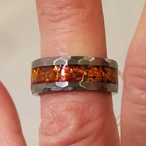 Hammered Tungsten Orange Opal Ring