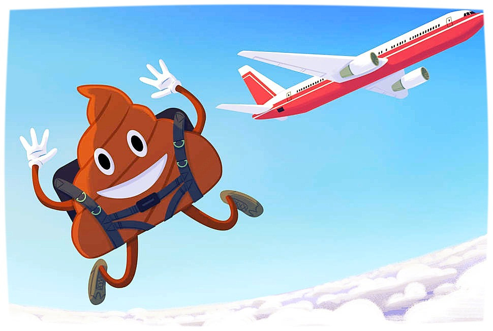 poo emoji jumping out of a plane