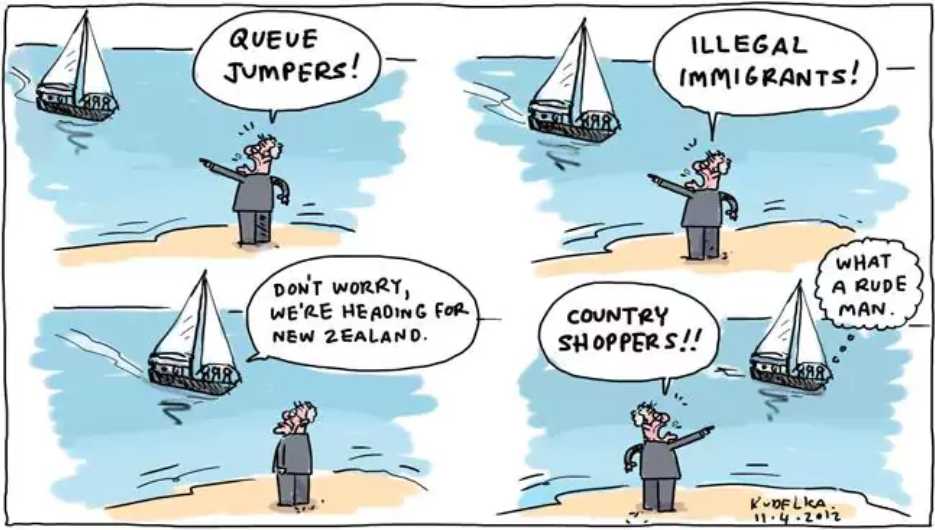 "four panels with boat and politician shouting ""queue jumpers"", ""illegal immigrants"" the asylum seekers shout back ""don't worry w're heading for New Zealand!"""
