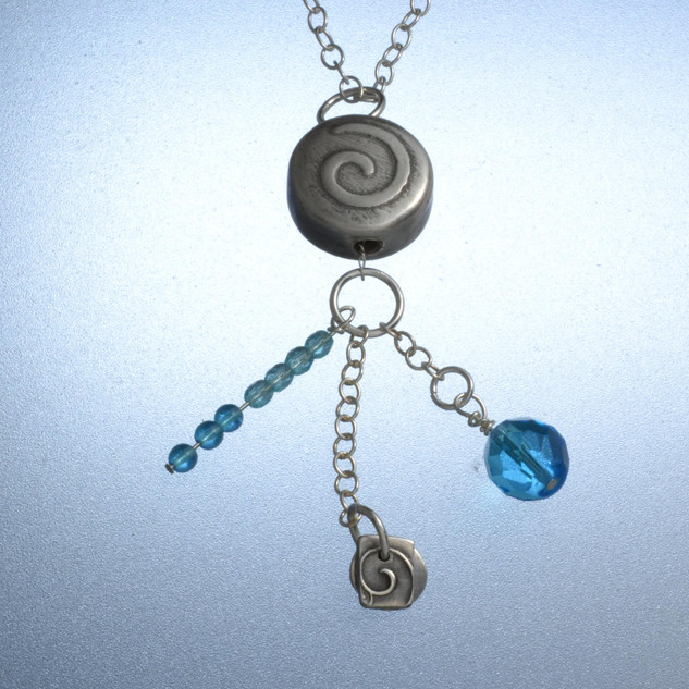 Silver Necklace (spiral bead)