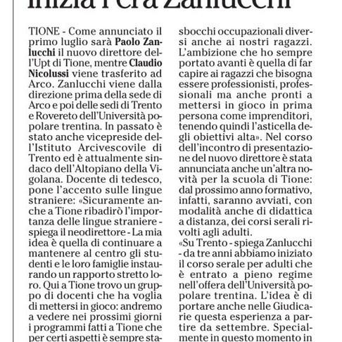 NUOVA DIREZIONE UPT TIONE - INIZIA L'ERA ZANLUCCHI