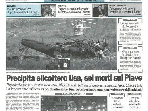 Precipita elicottero Usa, sei morti sul Piave