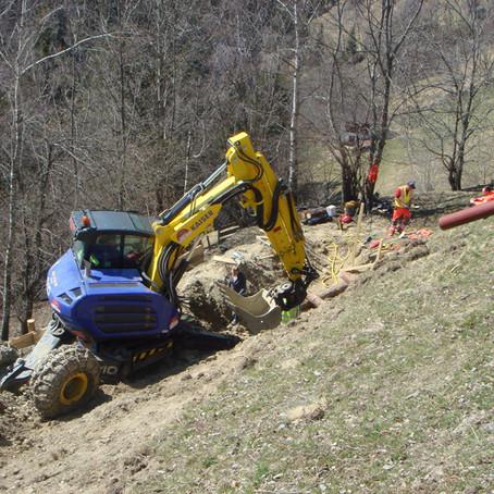 Bauarbeiten nach Katastrophenschäden 2019 am Sonnberg- Rutschung Köfele Arbeiten sind fertiggestellt