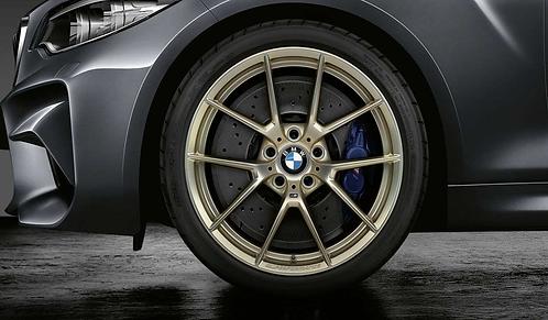 Комплект летних оригинальных колес Y-Spoke 763 М Performance Frozen Gold M4 F82