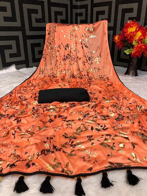 Beautiful Orange Saree Soft Lycra with Foil Print