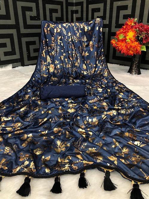 Beautiful Blue Saree Soft Lycra with Foil Print