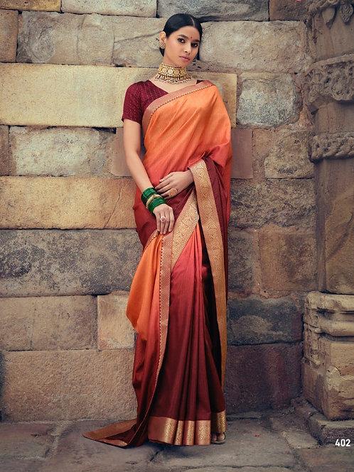 Savitri Shades Vichitra Silk Maroon Orange Saree