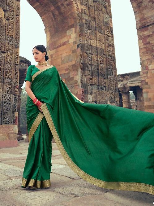 Savitri Shades Vichitra Silk Green Saree