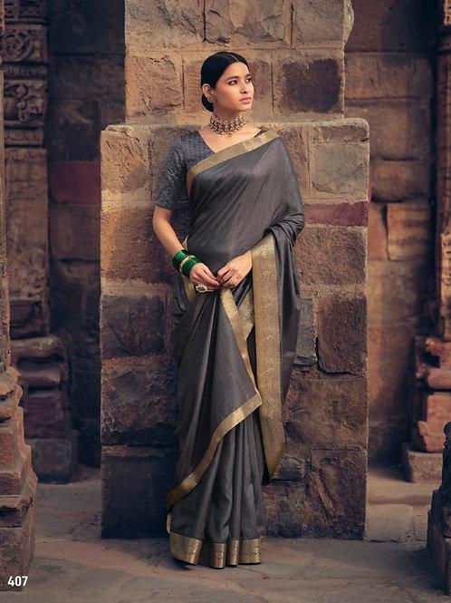 Savitri Shades Vichitra Silk Slaty Grey Saree