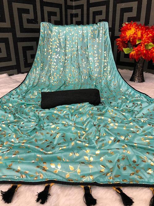 Beautiful Aqua Blue Lycra Saree with Foil Print