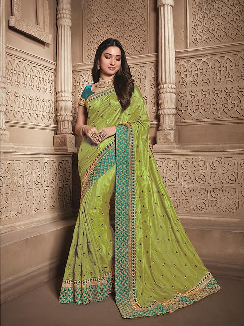 Joh Rivaaz Designer V-II Yellow-Green Exclusive Saree - 4503