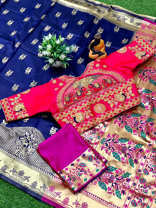 Festival Combo Lichi Silk Blue Saree with Blouse