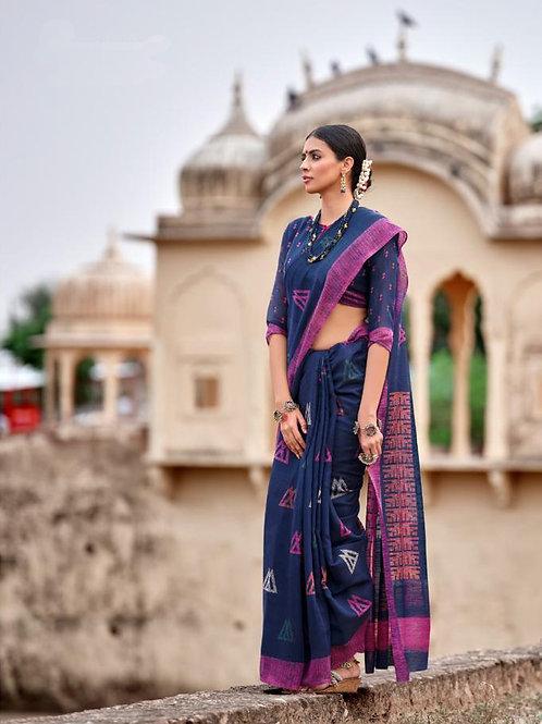 Nivrata Cotton Silk Saree Indigo Blue