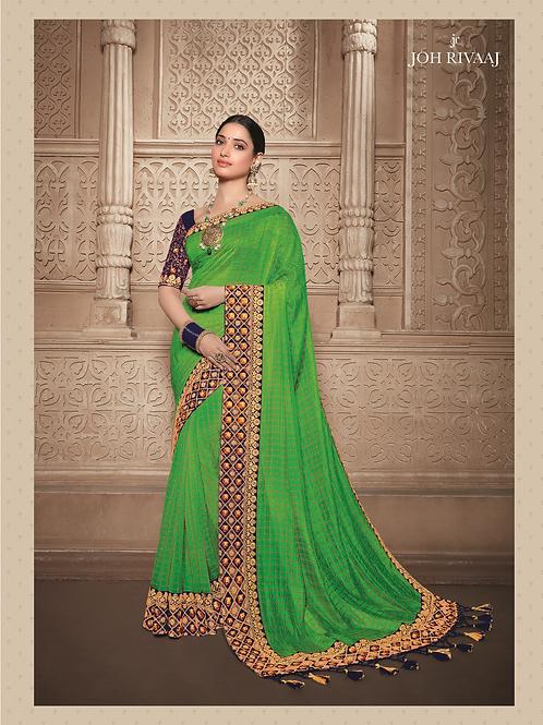 Joh Rivaaz Designer V-II Rich-Green Exclusive Saree - 4507