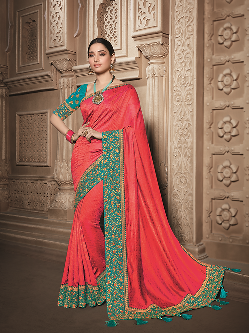Joh Rivaaz Designer V-II Beautiful-Red-Pink Exclusive Saree - 4510