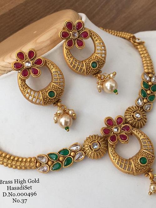 Brass High Gold Necklace D.No.00496