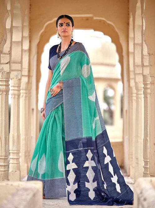 Nivrata Cotton Silk Saree Aqua Blue