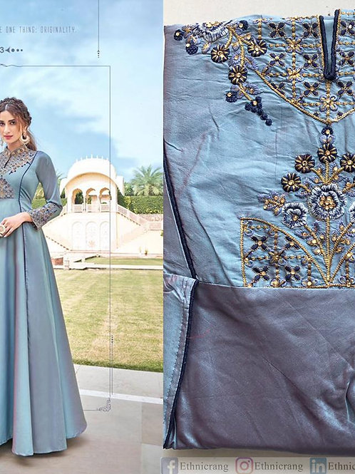 Designer Grey Gown with Embroidery work