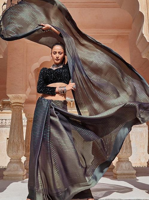 Swaragini Chiffon Saree with Designer Blouse Grey