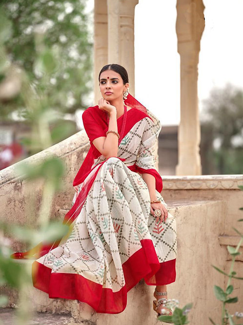 Nivrata Cotton Silk Saree Red