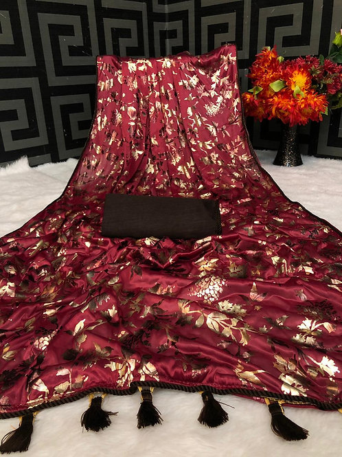 Beautiful Red Saree Soft Lycra with Foil Print