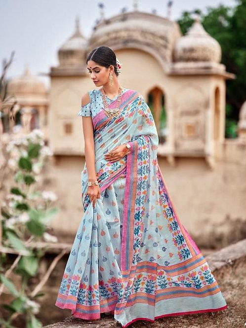 Nivrata Cotton Silk Saree Sky Blue