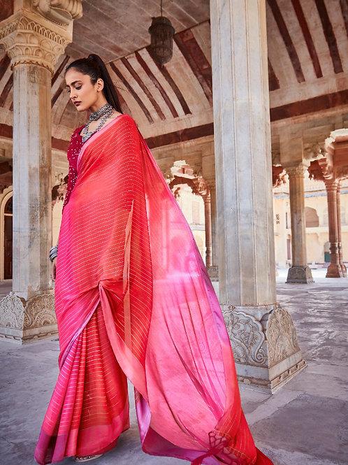 Swaragini Chiffon Saree with Designer Blouse Hot Pink