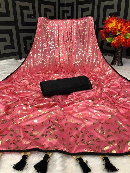Beautiful Pink Lycra Saree with Foil Print