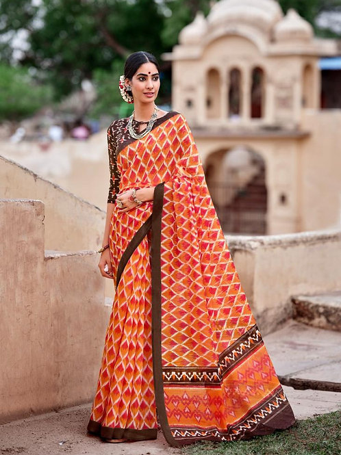 Nivrata Cotton Silk Saree Orange