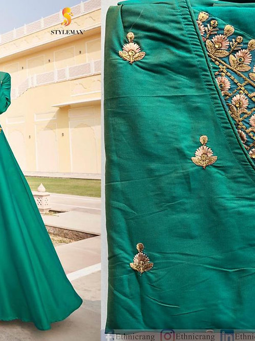 Designer Green Gown with Embroidery work