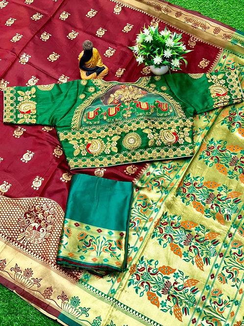 Festival Combo Lichi Silk Red Saree with Blouse