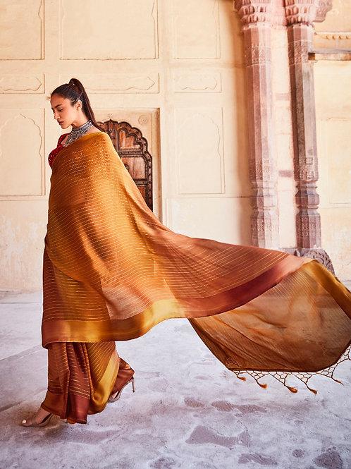 Swaragini Chiffon Saree with Designer Blouse Copper Brown