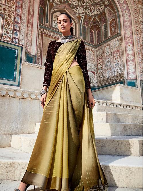 Swaragini Chiffon Saree with Designer Blouse Olive Green