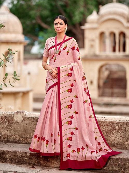 Nivrata Cotton Silk Saree Red Pink