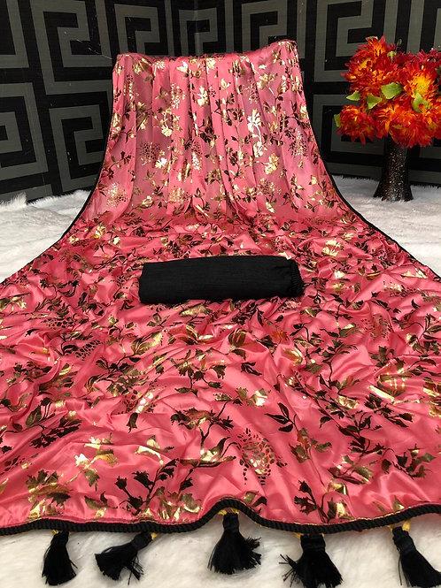 Beautiful Pink Saree Soft Lycra with Foil Print