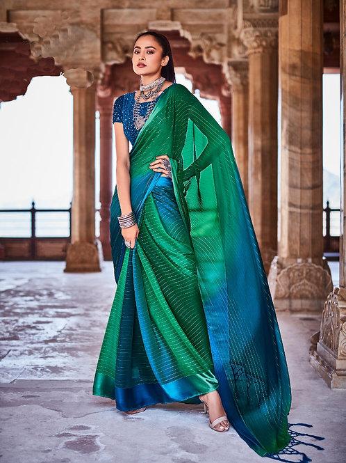 Swaragini Chiffon Saree with Designer Blouse Blue