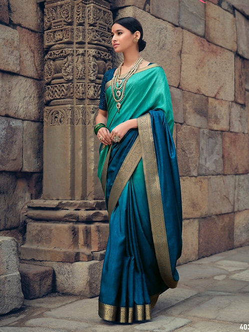 Savitri Shades Vichitra Silk Aqua Blue Saree