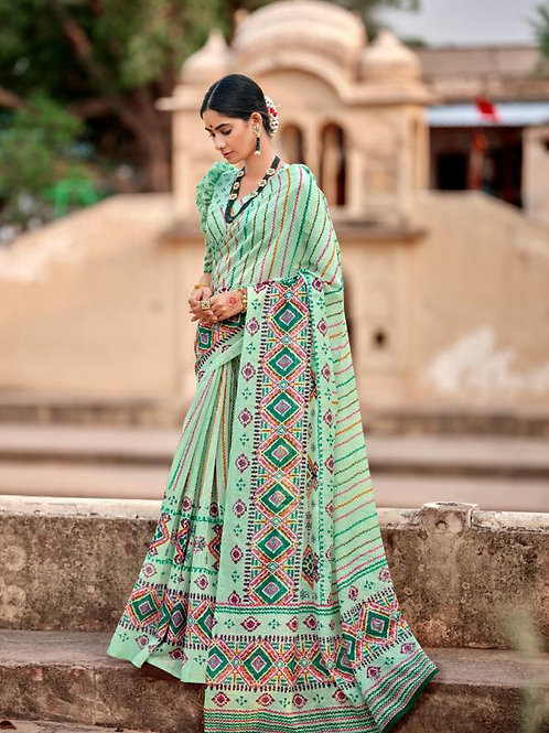 Nivrata Cotton Silk Saree Pista Green