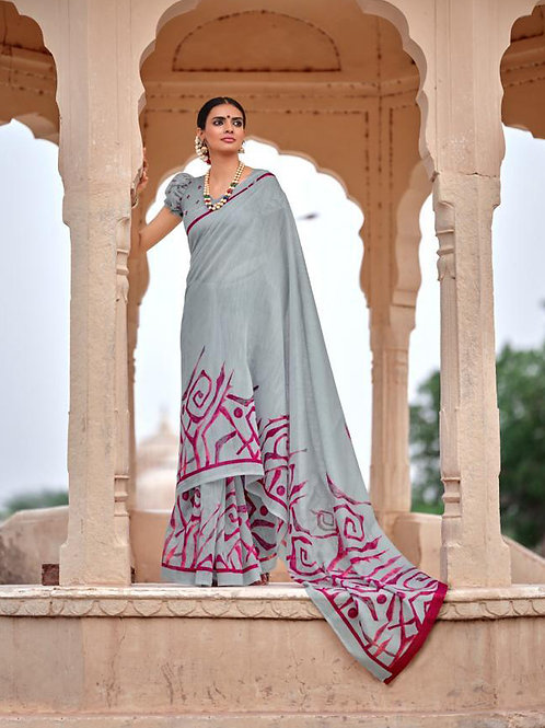 Nivrata Cotton Silk Saree Grey Pink